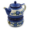 40 oz Stoneware Tea or Coffe Pot with Heater - Polmedia Polish Pottery H8119H