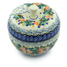 5-inch Stoneware Apple Shaped Jar - Polmedia Polish Pottery H2861C