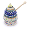 5-inch Stoneware Honey Jar with Dipper - Polmedia Polish Pottery H1374J