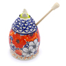 5-inch Stoneware Honey Jar with Dipper - Polmedia Polish Pottery H1376J