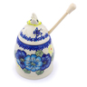 5-inch Stoneware Honey Jar with Dipper - Polmedia Polish Pottery H1384J