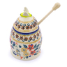 5-inch Stoneware Honey Jar with Dipper - Polmedia Polish Pottery H2259J