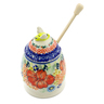 5-inch Stoneware Honey Jar with Dipper - Polmedia Polish Pottery H3119J
