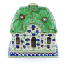 5-inch Stoneware House Shaped Candle Holder - Polmedia Polish Pottery H2631I