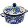5-inch Stoneware Jar with Lid and Handles - Polmedia Polish Pottery H0991K
