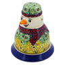 5-inch Stoneware Snowman Candle Holder - Polmedia Polish Pottery H2932K