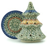 6-inch Stoneware Christmas Tree Candle Holder - Polmedia Polish Pottery H3090I