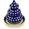 6-inch Stoneware Christmas Tree Candle Holder - Polmedia Polish Pottery H5887D