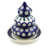 6-inch Stoneware Christmas Tree Candle Holder - Polmedia Polish Pottery H5888D