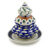 6-inch Stoneware Christmas Tree Candle Holder - Polmedia Polish Pottery H9992D