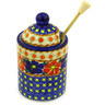 6-inch Stoneware Honey Jar with Dipper - Polmedia Polish Pottery H2433F