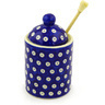 6-inch Stoneware Honey Jar with Dipper - Polmedia Polish Pottery H2435F