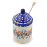 6-inch Stoneware Honey Jar with Dipper - Polmedia Polish Pottery H2587G