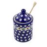 6-inch Stoneware Honey Jar with Dipper - Polmedia Polish Pottery H4661J