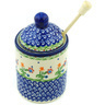 6-inch Stoneware Honey Jar with Dipper - Polmedia Polish Pottery H7754H