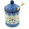 6-inch Stoneware Honey Jar with Dipper - Polmedia Polish Pottery H9537H