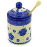 6-inch Stoneware Honey Jar with Dipper - Polmedia Polish Pottery H9635F