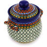 6-inch Stoneware Jar with Lid and Handles - Polmedia Polish Pottery H2161E