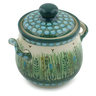 6-inch Stoneware Jar with Lid and Handles - Polmedia Polish Pottery H2396E