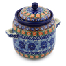 6-inch Stoneware Jar with Lid and Handles - Polmedia Polish Pottery H3975A