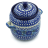 6-inch Stoneware Jar with Lid and Handles - Polmedia Polish Pottery H3978A