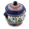 6-inch Stoneware Jar with Lid and Handles - Polmedia Polish Pottery H6307C