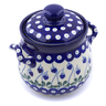 6-inch Stoneware Jar with Lid and Handles - Polmedia Polish Pottery H7473B