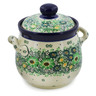 6-inch Stoneware Jar with Lid and Handles - Polmedia Polish Pottery H7618J