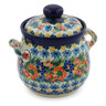 6-inch Stoneware Jar with Lid and Handles - Polmedia Polish Pottery H7620J