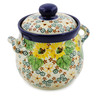 6-inch Stoneware Jar with Lid and Handles - Polmedia Polish Pottery H7621J