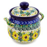 6-inch Stoneware Jar with Lid and Handles - Polmedia Polish Pottery H7622J