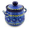 6-inch Stoneware Jar with Lid and Handles - Polmedia Polish Pottery H7623J
