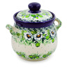 6-inch Stoneware Jar with Lid and Handles - Polmedia Polish Pottery H7624J
