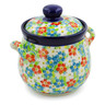 6-inch Stoneware Jar with Lid and Handles - Polmedia Polish Pottery H7628J
