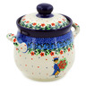 6-inch Stoneware Jar with Lid and Handles - Polmedia Polish Pottery H7631J