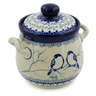 6-inch Stoneware Jar with Lid and Handles - Polmedia Polish Pottery H7632J