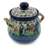6-inch Stoneware Jar with Lid and Handles - Polmedia Polish Pottery H7633J