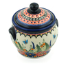 6-inch Stoneware Jar with Lid and Handles - Polmedia Polish Pottery H8090C