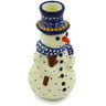 6-inch Stoneware Snowman Candle Holder - Polmedia Polish Pottery H2916H