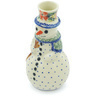 6-inch Stoneware Snowman Candle Holder - Polmedia Polish Pottery H6867H