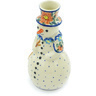 6-inch Stoneware Snowman Candle Holder - Polmedia Polish Pottery H6869H