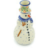 6-inch Stoneware Snowman Candle Holder - Polmedia Polish Pottery H6873H