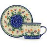 6 oz Stoneware Cup with Saucer - Polmedia Polish Pottery H0468H