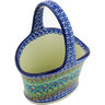 7-inch Stoneware Basket with Handle - Polmedia Polish Pottery H3317G