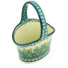 7-inch Stoneware Basket with Handle - Polmedia Polish Pottery H6223G