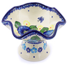 7-inch Stoneware Bowl with Pedestal - Polmedia Polish Pottery H1312J