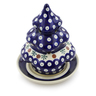 7-inch Stoneware Christmas Tree Candle Holder - Polmedia Polish Pottery H4189I