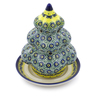 7-inch Stoneware Christmas Tree Candle Holder - Polmedia Polish Pottery H5931I