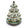 7-inch Stoneware Christmas Tree Candle Holder - Polmedia Polish Pottery H9957A