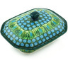 7-inch Stoneware Dish with Cover - Polmedia Polish Pottery H3273G